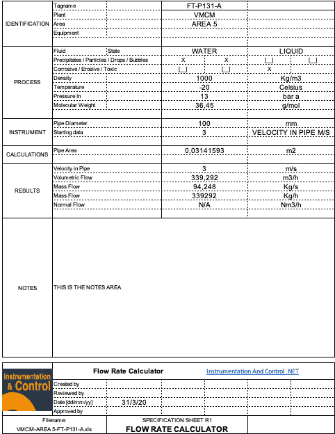 Orifice Plate Calculator Results Spreadsheet Sample Document